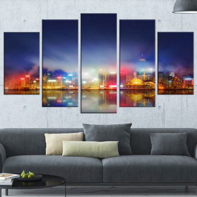 Designart Colorful Hong Kong Skyline Cityscape Photography Canvas Print - 4 Panels