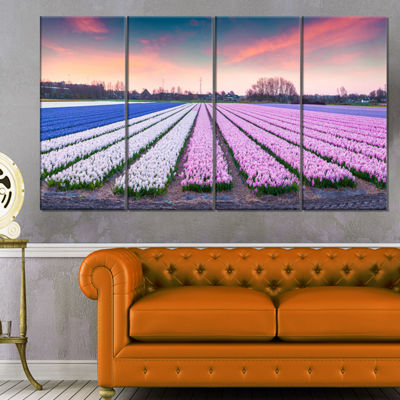 Designart Colorful Hyacinth Flowers at Sunrise Photography Canvas Art Print - 4 Panels