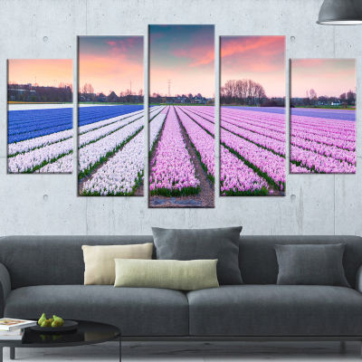 Colorful Hyacinth Flowers at Sunrise Photography Wrapped Canvas Art Print - 5 Panels