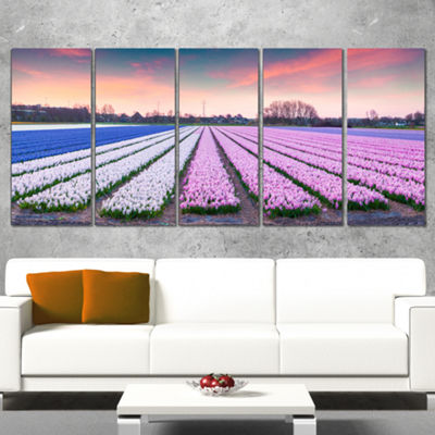 Designart Colorful Hyacinth Flowers at Sunrise Photography Canvas Art Print - 5 Panels