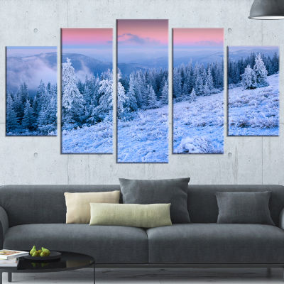 Designart Winter Sunrise Over Mountain Landscape PhotographyCanvas Print - 5 Panels