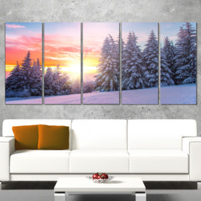 Designart Winter Sunset in Bulgaria Landscape Photo Canvas Art Print - 5 Panels