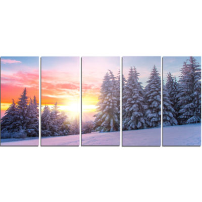 Winter Sunset in Bulgaria Landscape Photo Canvas Art Print - 5 Panels