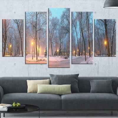 Designart Winter Time Mariinsky Garden Landscape PhotographyCanvas Print - 4 Panels