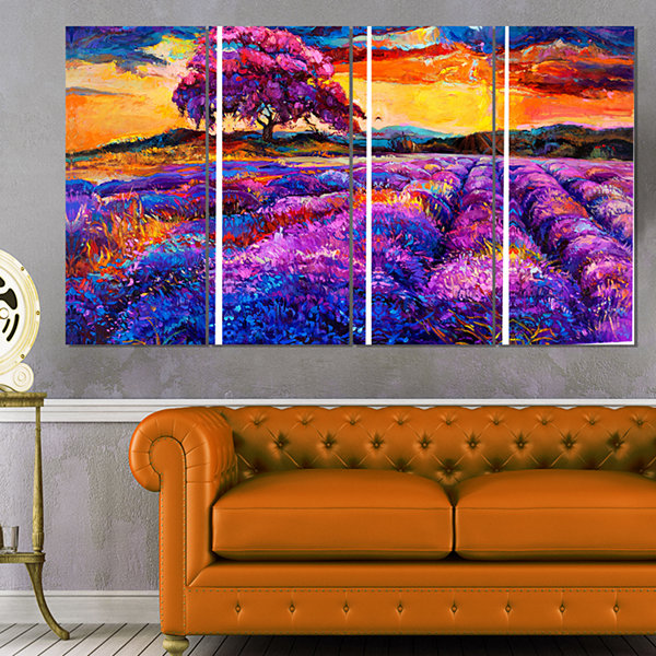 Designart Colorful Lavender Fields Photography Canvas Art Print - 4 Panels