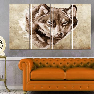Designart Wolf Head Tattoo Sketch Abstract Print on Canvas -4 Panels