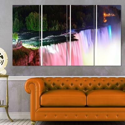 Designart Colorful Niagara Falls Panorama AbstractPrint OnCanvas - 4 Panels