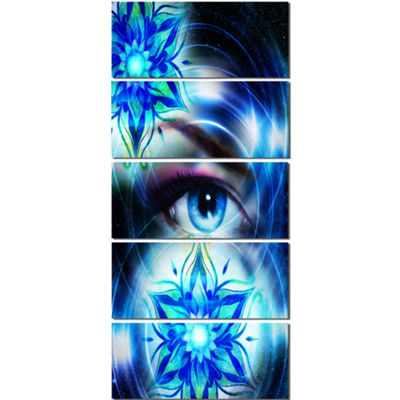 Designart Woman Eye with Fractal Flowers Floral Art Canvas Print - 5 Panels