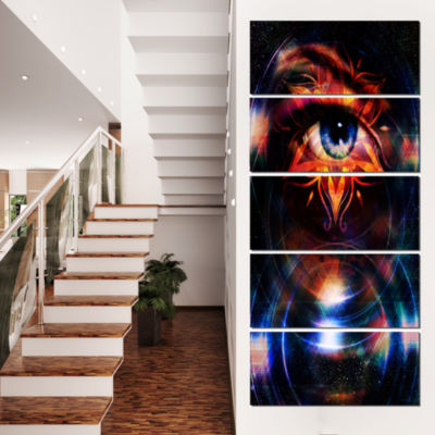 Designart Woman Eye with Fractal Star Floral Art Canvas Print - 4 Panels