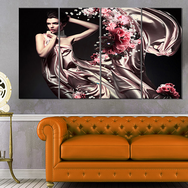 Designart Woman in Fabric and Flowers Portrait Canvas Art Print - 4 Panels