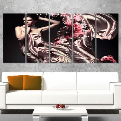 Designart Woman in Fabric and Flowers Portrait Canvas Art Print - 5 Panels