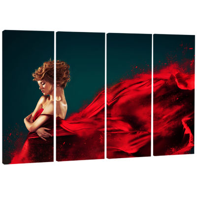 Woman in Flying Red Dress Abstract Portrait CanvasPrint - 4 Panels
