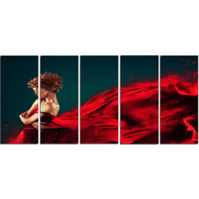Woman in Flying Red Dress Abstract Portrait CanvasPrint - 5 Panels