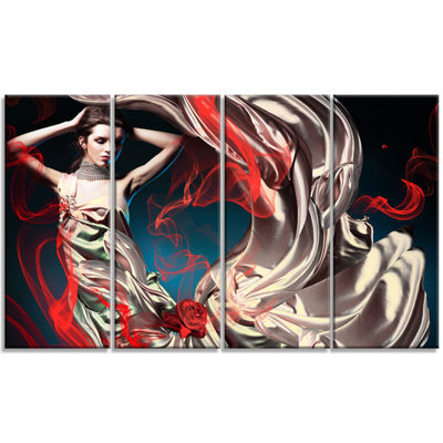 Designart Woman in Long Fairy Dress Abstract Portrait CanvasPrint - 4 Panels