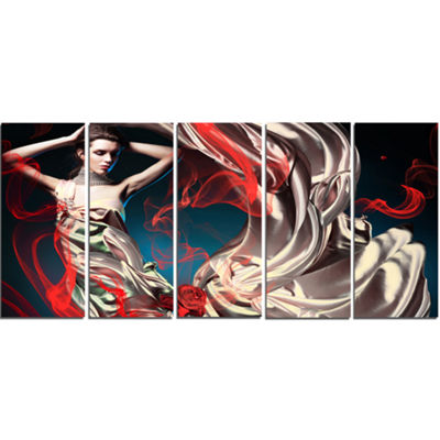 Designart Woman in Long Fairy Dress Abstract Portrait CanvasPrint - 5 Panels