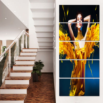 Designart Woman in Yellow with Jewelry Portrait Canvas Art Print - 4 Panels