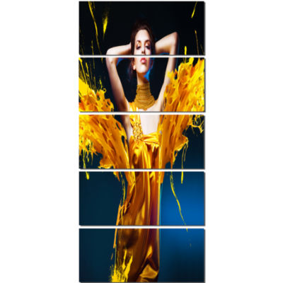 Woman in Yellow with Jewelry Portrait Canvas Art Print - 5 Panels
