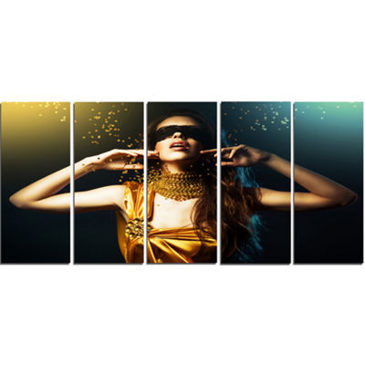 Designart Woman in Yellow with Mask Portrait Canvas Art Print - 4 Panels