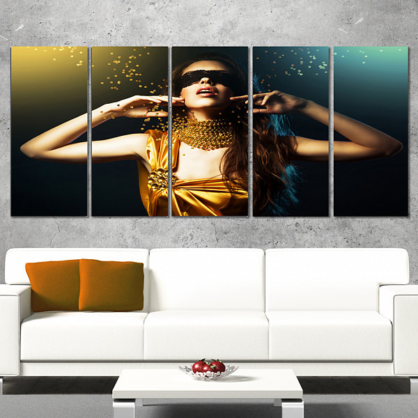 Woman in Yellow with Mask Portrait Canvas Art Print - 5 Panels