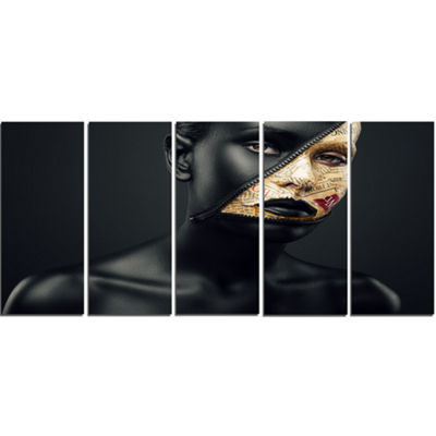 Designart Woman with A Zip on Face Portrait CanvasArt Print- 4 Panels