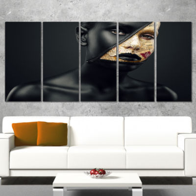 Designart Woman with A Zip on Face Portrait CanvasArt Print- 5 Panels