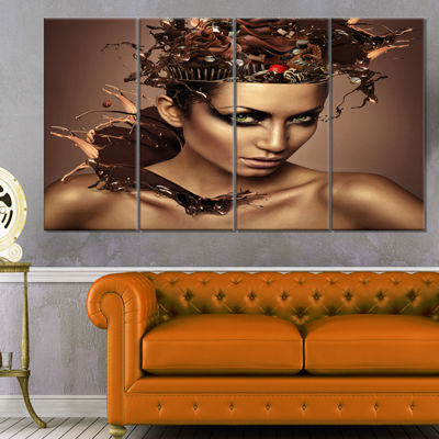 Designart Woman with Chocolate in Head Portrait Canvas Art Print - 4 Panels