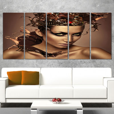 Designart Woman with Chocolate in Head Portrait Canvas Art Print - 5 Panels