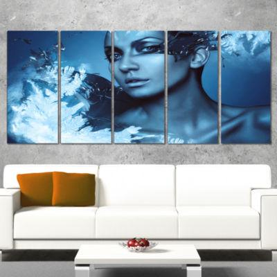 Woman with Snow Splash Portrait Canvas Art Print -4 Panels