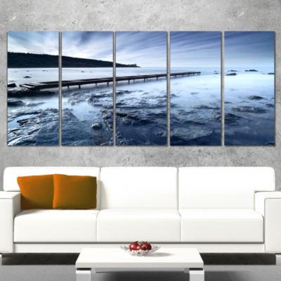 Designart Wooden Pier Deep into Sea Seascape Canvas Art Print - 4 Panels