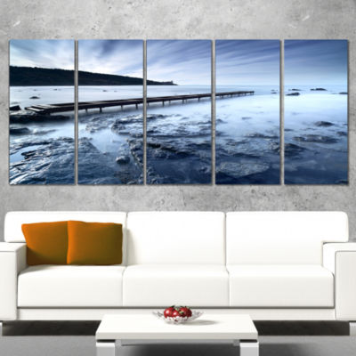 Designart Wooden Pier Deep into Sea Seascape Canvas Art Print - 5 Panels