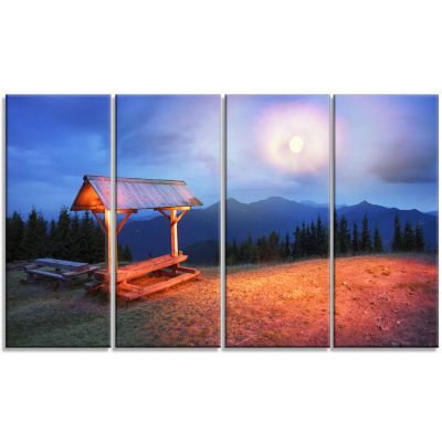 Wooden Table and Benches Landscape Photography Canvas Print - 4 Panels