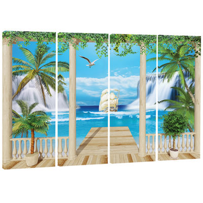 Designart Wooden Terrace with Sea View Landscape PhotographyCanvas Print - 4 Panels