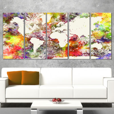World Map in Great Colors Watercolor Map Canvas Art Print - 5 Panels