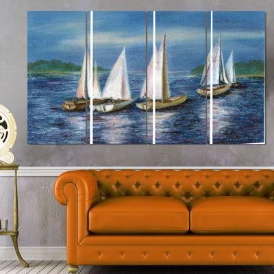 Designart Yachts By Obsky Sea Seascape Canvas ArtPrint - 4Panels