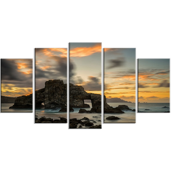 Designart Yellow atlantic Coast in Spain SeashorePhoto Canvas Print - 4 Panels