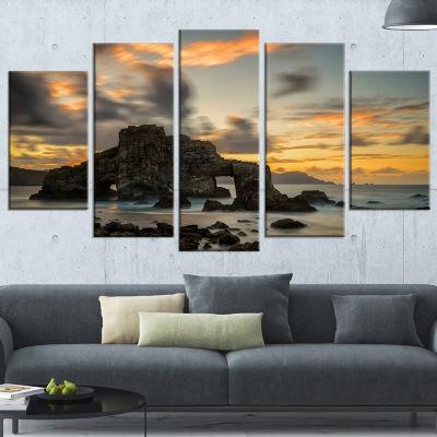 Designart Yellow atlantic Coast in Spain SeashorePhoto Canvas Print - 5 Panels