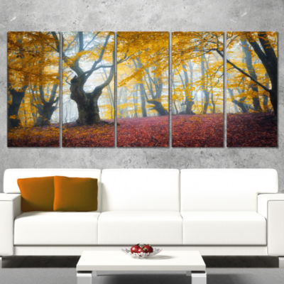 Yellow Forest Autumn Trail Landscape Photography Canvas Print - 4 Panels