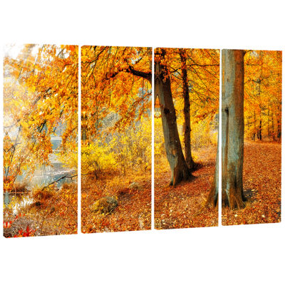 Designart Yellow Forest of Autumn Landscape Photography Canvas Print - 4 Panels