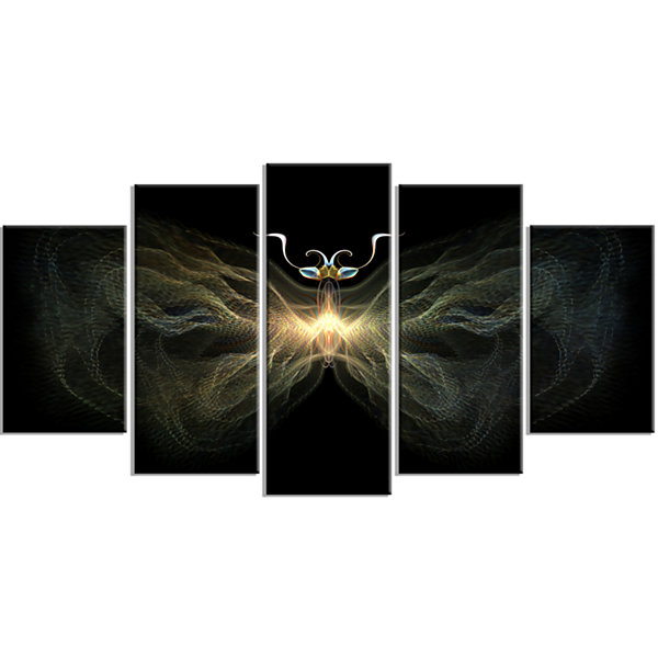 Designart Yellow Fractal Butterfly in Dark Abstract Print onCanvas - 4 Panels
