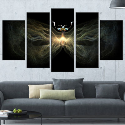Designart Yellow Fractal Butterfly in Dark Contemporary Print on Canvas - 5 Panels