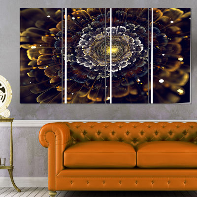 Designart Yellow Fractal Flowers with Violet Abstract Printon Canvas - 4 Panels