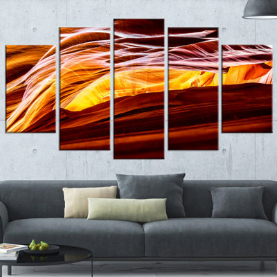 Designart Yellow in Antelope Canyon Landscape Photo Canvas Art Print - 5 Panels