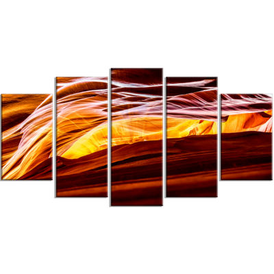 Designart Yellow in Antelope Canyon Large Landscape Photo Canvas Art Print - 5 Panels