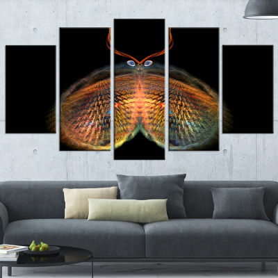 Yellow Red Fractal Butterfly in Dark Abstract Canvas Art Print - 4 Panels