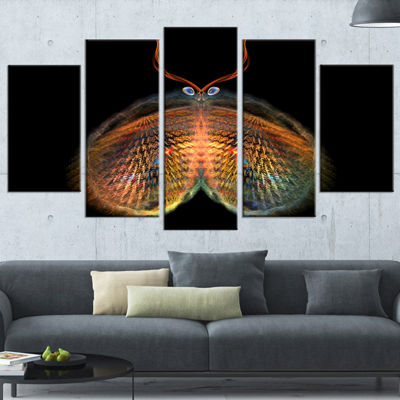 Designart Yellow Red Fractal Butterfly in Dark Abstract Canvas Art Print - 5 Panels