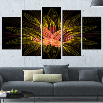 Designart Yellow Red Fractal Flower in Dark LargeFloral Canvas Art Print - 5 Panels