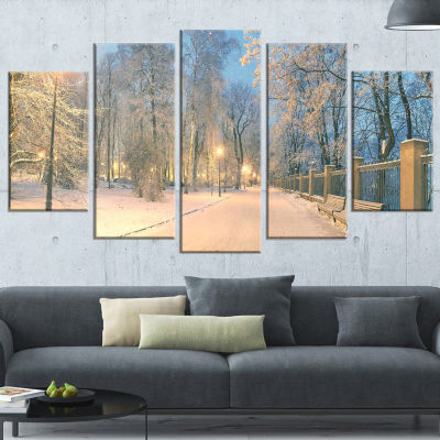 Designart Yellow Seats in Mariinsky Garden Landscape Photography Canvas Print - 4 Panels