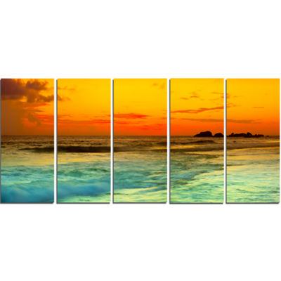 Designart Yellow Sunset Over Sea Seascape Photography CanvasArt Print - 4 Panels