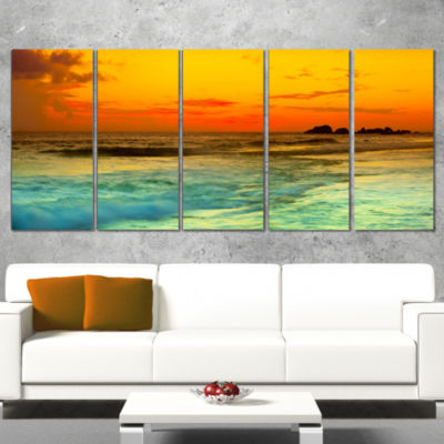 Yellow Sunset Over Sea Seascape Photography CanvasArt Print - 4 Panels