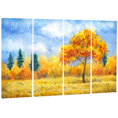 Yellow Trees Watercolor Painting Landscape CanvasPrint - 4 Panels